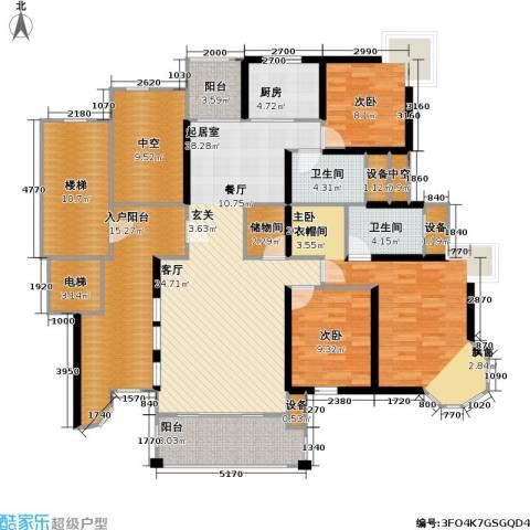 中金玫瑰湾二期3室0厅2卫1厨155.00㎡户型图