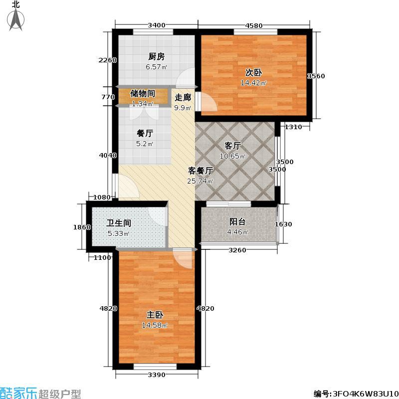 中星星阳苑房型: 二房; 面积段: 81.94 -92.58 平方米; 户型