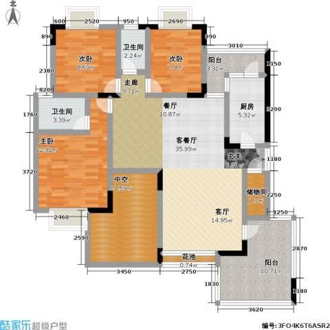 金科绿韵康城(二期)3室1厅2卫1厨123.00㎡户型图