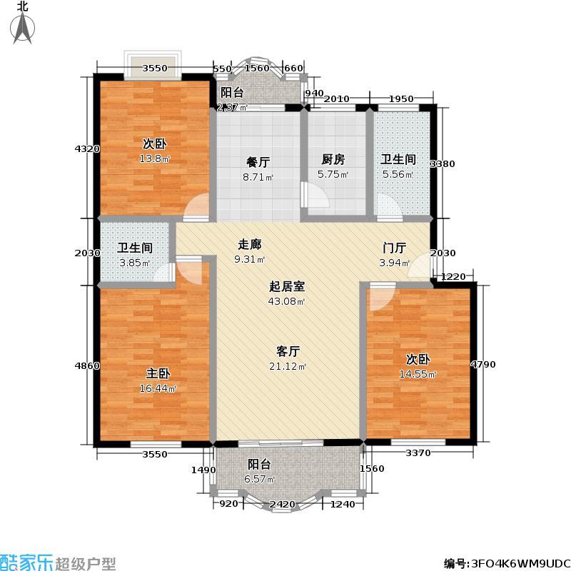 东兴华苑125.33㎡房型: 三房; 面积段: 125.33 -145.77 平方米;户型