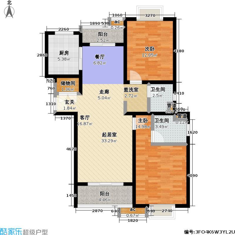 丝庐花语一期房型: 二房; 面积段: 96.15 -122 平方米; 户型