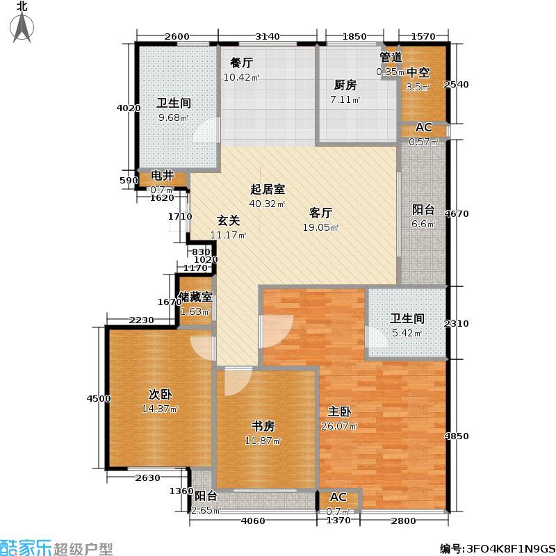 盛世豪庭三期-香园142.00㎡位于1#的西边套,三房两厅两卫,142平米-17套户型3室2厅2卫