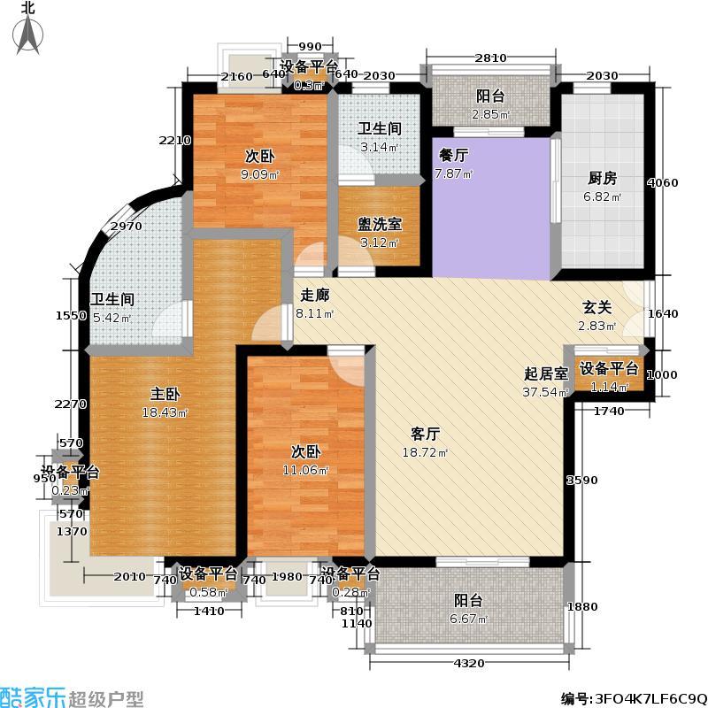耀江花园一期128.10㎡房型: 三房; 面积段: 128.1 -136.94 平方米; 户型