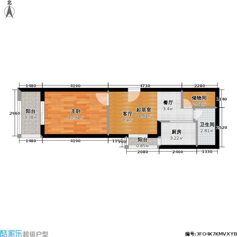 绿地世纪城三期42.00㎡房型: 一房; 面积段: 42 -68 平方米; 户型