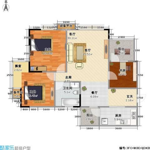 竹凌星晨3室1厅1卫1厨115.00㎡户型图