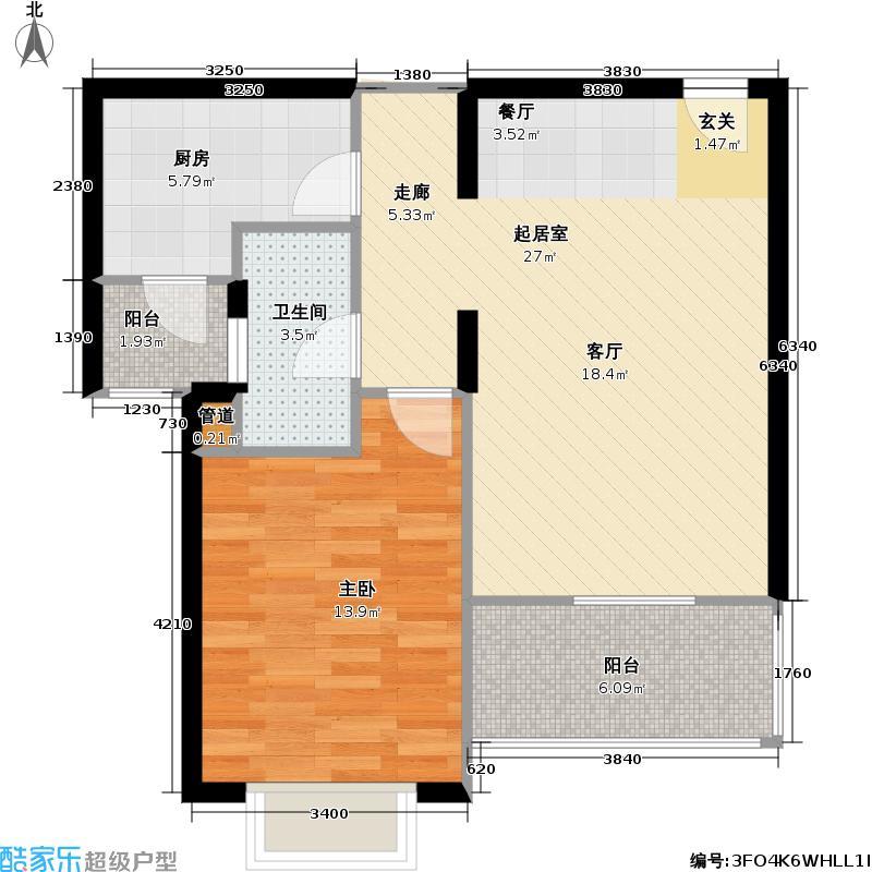 平江新城70.00㎡房型: 一房; 面积段: 70 -73.9 平方米; 户型