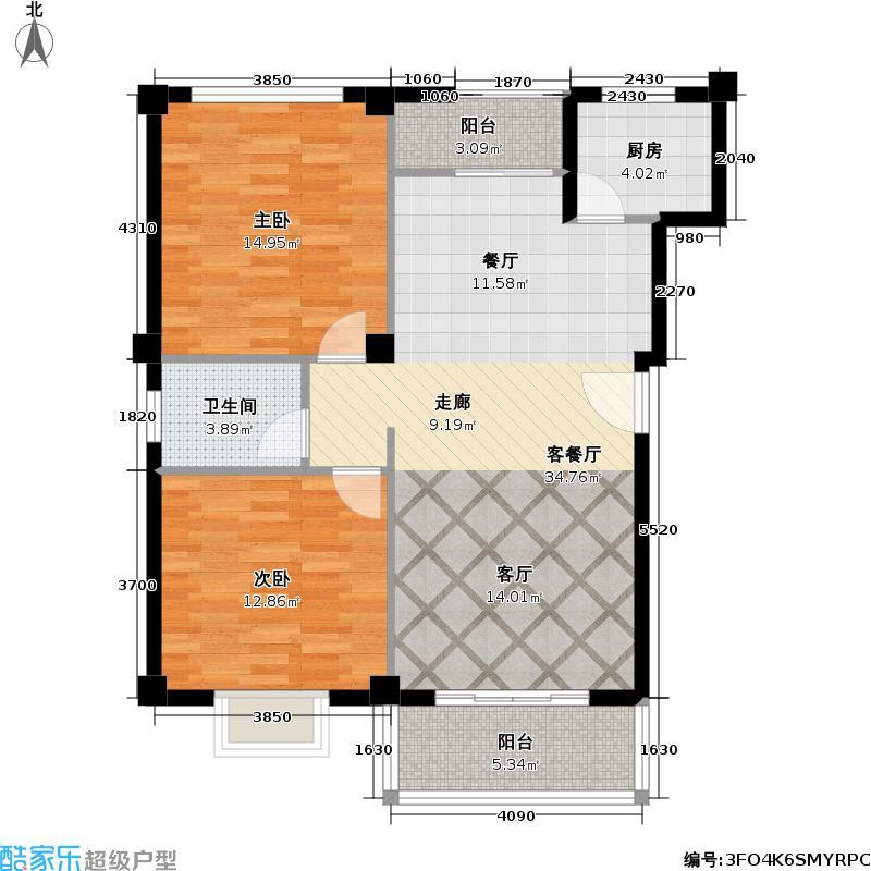 仙霞良品88.00㎡两房两厅两卫88平米南北通户型