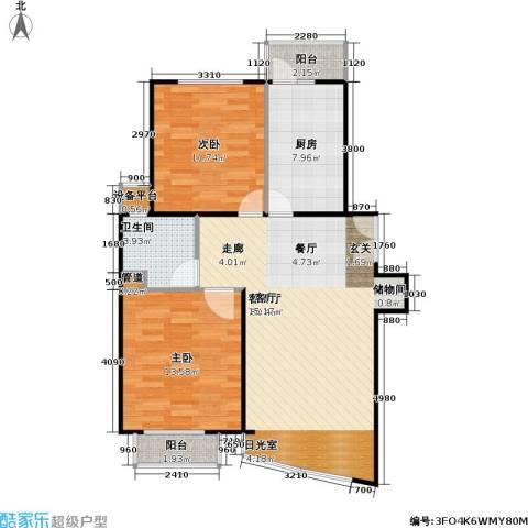 陆家嘴花园二期2室1厅1卫1厨98.00㎡户型图