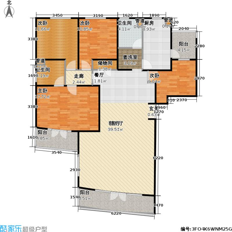 陆家嘴花园二期房型户型4室1厅2卫1厨