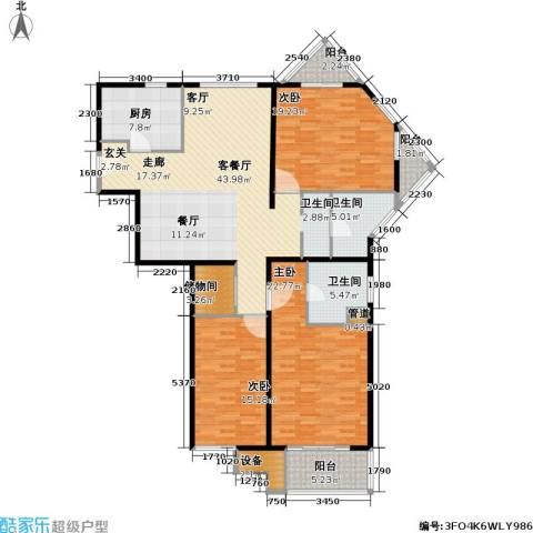 新都花园一期3室1厅2卫1厨186.00㎡户型图