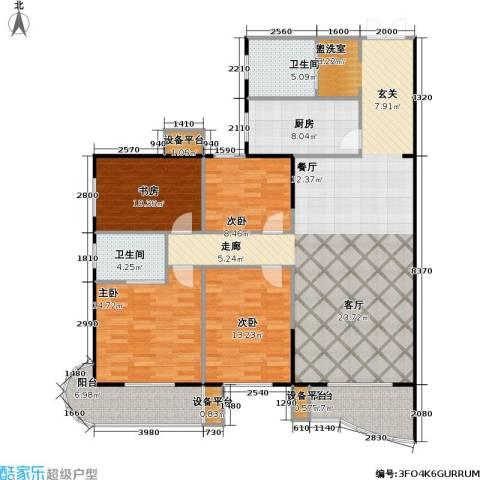 鹦鹉花园(六期)4室1厅2卫1厨142.00㎡户型图