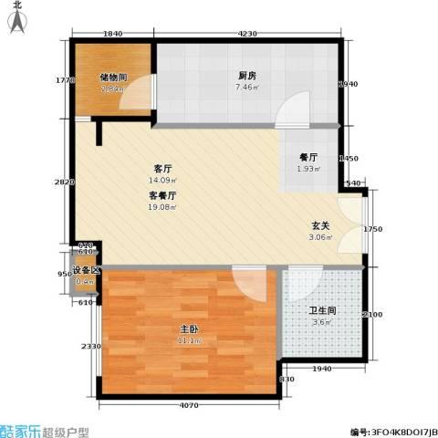 西成忆树1室1厅1卫1厨60.00㎡户型图