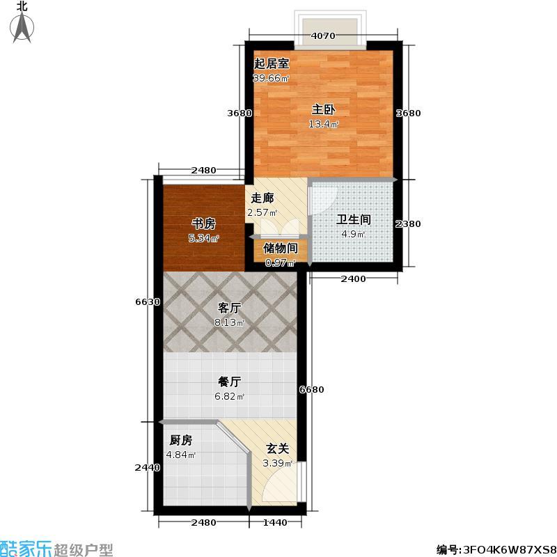 绿地大厦海悦公寓50.71㎡房型: 一房; 面积段: 50.71 -62.14 平方米; 户型
