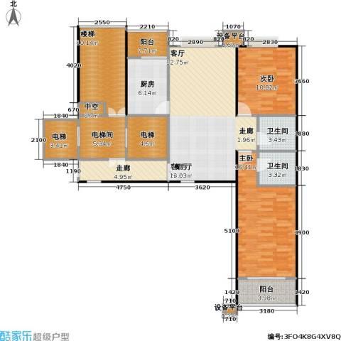 都市节奏2室1厅2卫1厨113.00㎡户型图