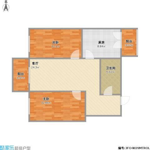10AM新坐标2室1厅1卫1厨96.00㎡户型图