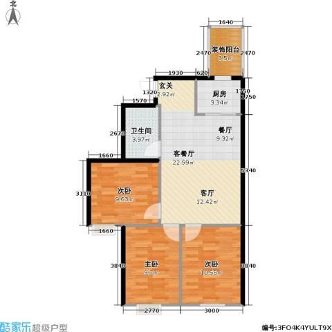 筑石派3室1厅1卫1厨66.00㎡户型图