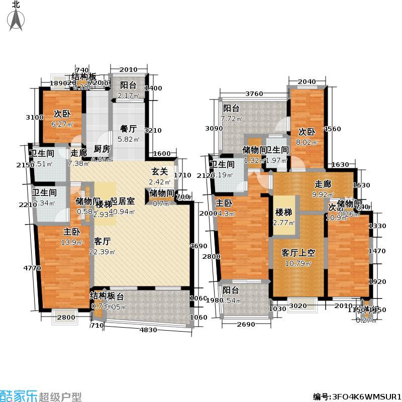 浦东世纪花园一期184.00㎡房型: 复式; 面积段: 184 -298 平方米;户型