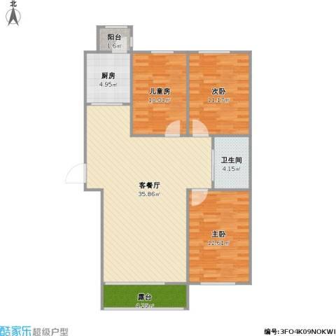 昆玉府3室1厅1卫1厨114.00㎡户型图