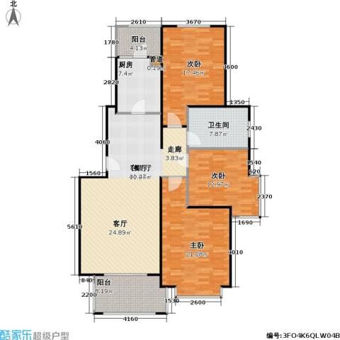 长宁馥邦苑3室1厅1卫1厨160.00㎡户型图