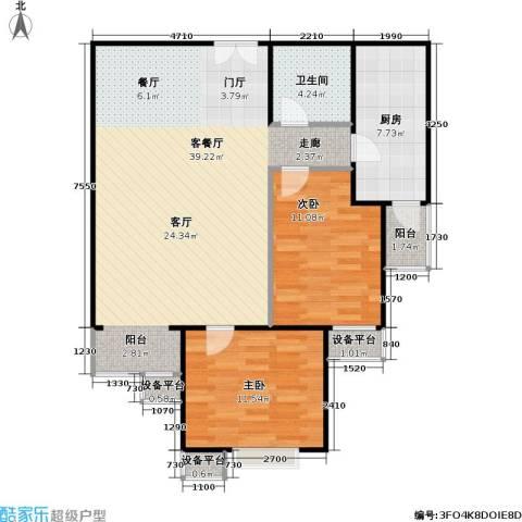 西成忆树2室1厅1卫1厨105.00㎡户型图