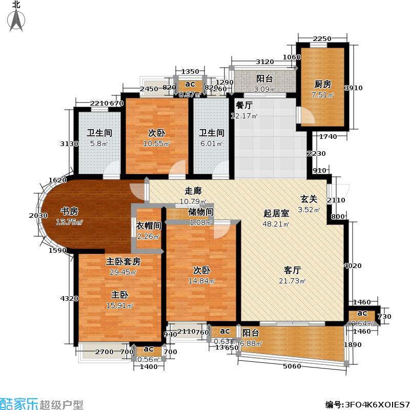 九城湖滨国际公寓户型2室2卫1厨