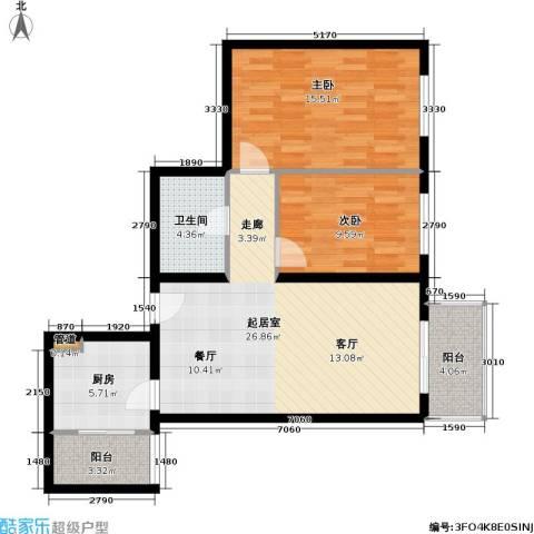 首开知语城2室0厅1卫1厨85.00㎡户型图