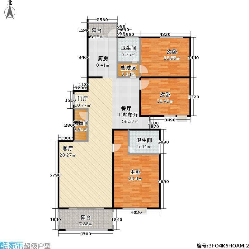 东海园一期145.13㎡房型: 三房; 面积段: 145.13 -150.75 平方米; 户型