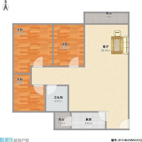 怡乐花园3室1厅1卫1厨80.24㎡户型图