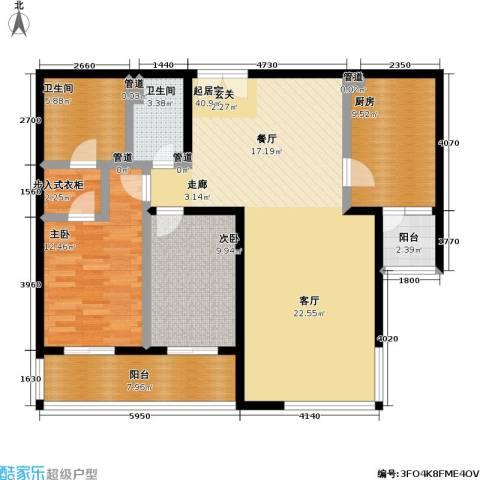 境界・水晶城2室0厅2卫1厨138.00㎡户型图