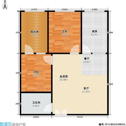 卓达中苑商务大厦A座2室0厅1卫1厨91.00㎡户型图