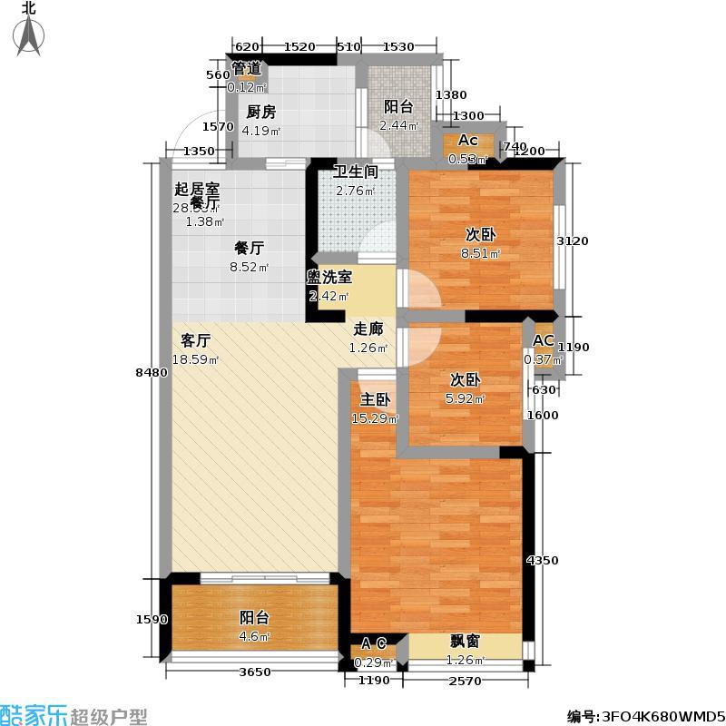 新长江香樟林3号楼云锦居户型3室1卫1厨