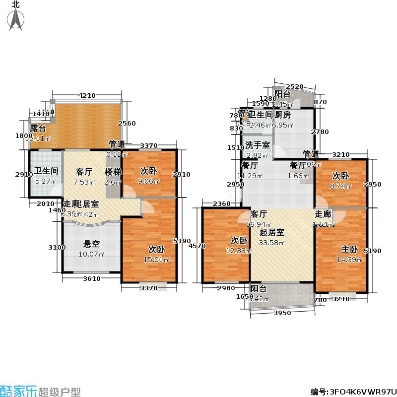 大华阳城花园(二期)139.44㎡房型: 复式; 面积段: 139.44 -172 平方米; 户型