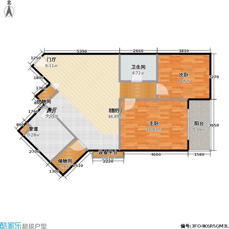 和兰苑一期110平方米两室两厅一卫户型