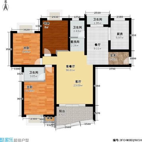 美堤雅城(二期)3室1厅3卫1厨102.00㎡户型图