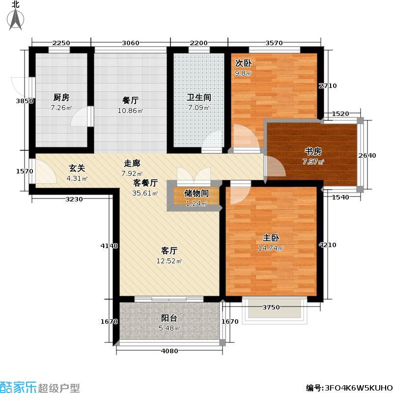 华升新苑二期103.40㎡房型: 三房; 面积段: 103.4 -144.36 平方米; 户型