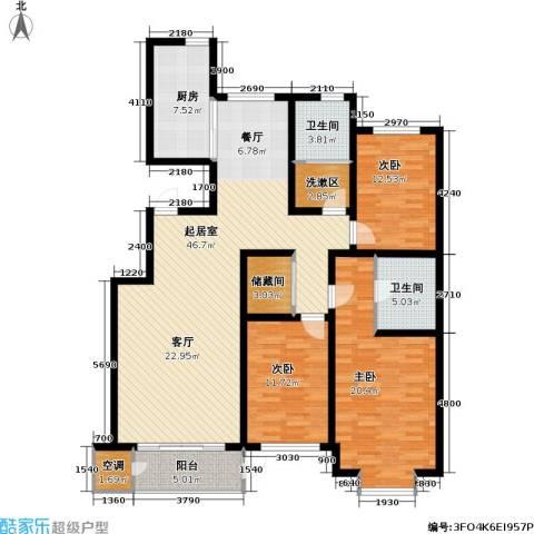 巨华世纪城3室0厅2卫1厨152.00㎡户型图