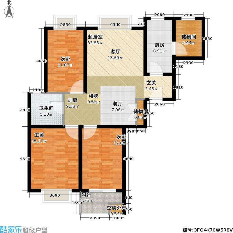 万邦都市花园四、五期房型户型3室1卫1厨