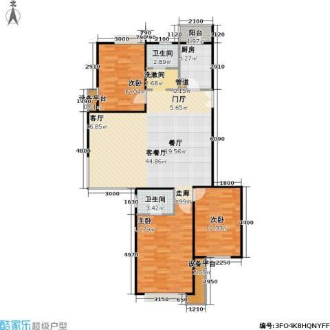 时代龙和大道3室1厅2卫1厨134.00㎡户型图