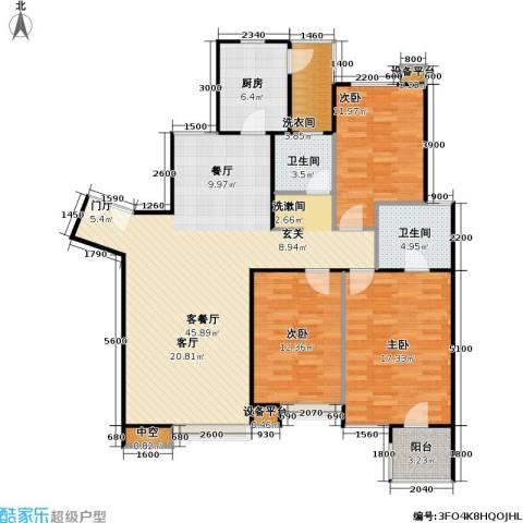 时代龙和大道3室1厅2卫1厨143.00㎡户型图