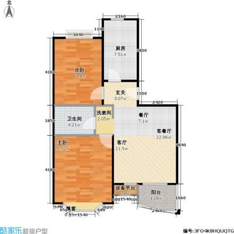 美然绿色家园2室1厅1卫1厨77.00㎡户型图