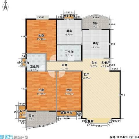 美然绿色家园3室1厅2卫1厨134.00㎡户型图