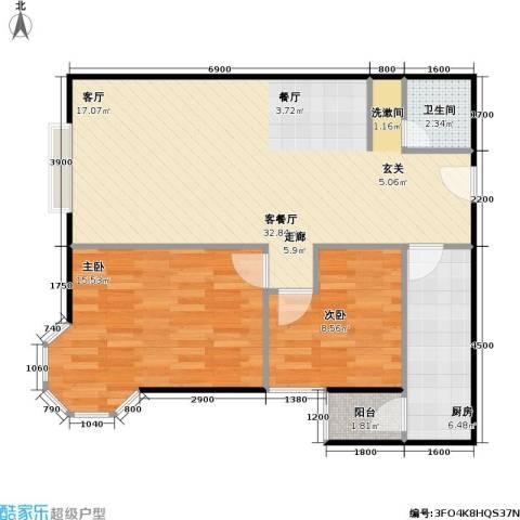 美然绿色家园2室1厅1卫1厨87.00㎡户型图