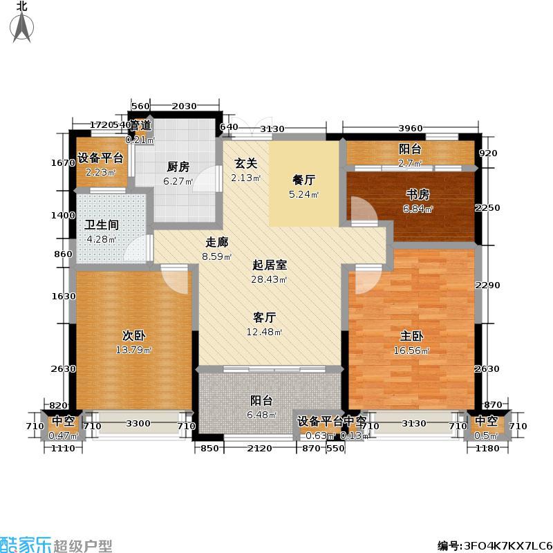 恒厚阳光城103.00㎡B户型103平米户型3室2厅1卫