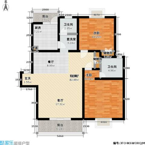 东日欣欣苑2室1厅2卫1厨117.00㎡户型图