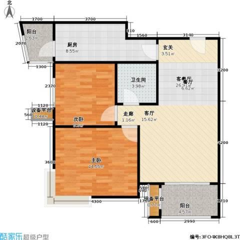大城小镇2室1厅1卫1厨97.00㎡户型图