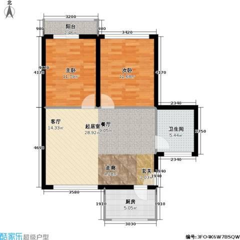 和福花园2室0厅1卫1厨92.00㎡户型图