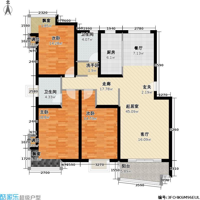 乾静园130.00㎡房型: 三房; 面积段: 130 -138.18 平方米;户型