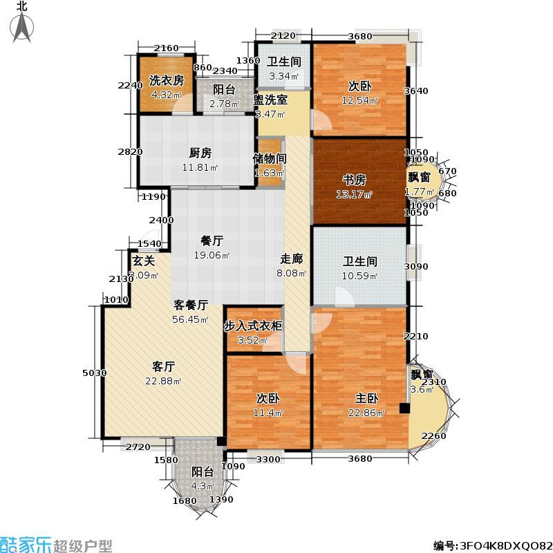大上海国际花园三期房型: 四房; 面积段: 168 -180 平方米;户型