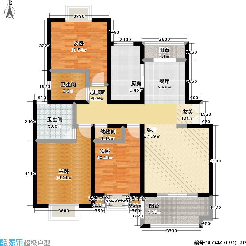 东方知音房型: 三房; 面积段: 113.79 -135.56 平方米; 户型