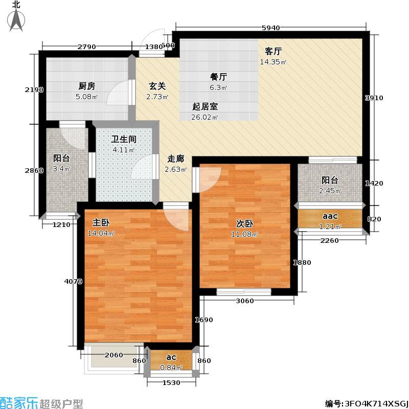 九城湖滨国际公寓80.00㎡二房二厅一卫-80-90平米-167套户型